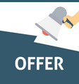 hand holding megaphone with offer announcement vector image