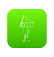 man protest icon green vector image