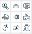 management icons set with problem solving vector image vector image
