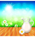 Milk jug on wooden table nature background vector image vector image