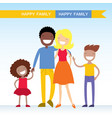 portrait of four member of mixed race family vector image
