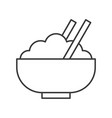 rice bowl with chopsticks food outline icon vector image