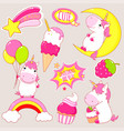 set cute unicorns stickers in kawaii style vector image vector image