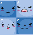 set emotions emoji faces characters icons vector image