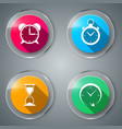 set glass four color flat icon vector image