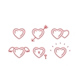 Set of outline heart symbols vector image
