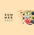 summer sale banner with palm frangipani flowers vector image vector image