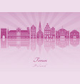 torun skyline in purple radiant orchid vector image vector image