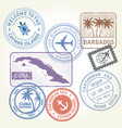 travel stamps set caribbean sea theme vector image vector image