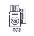 travel tickets line icon concept travel tickets vector image vector image