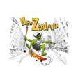 troll jumps on a skateboard in the city wellington vector image vector image