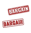Two red realistic Bargain stamps isolated vector image vector image