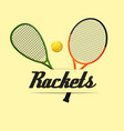 two tennis rackets yellow background image vector image vector image