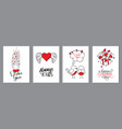 valentines day cards set handwritten lettering vector image vector image