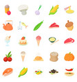 vegetarian icons set cartoon style vector image vector image