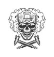 vintage hipster skull in smoke cloud vector image vector image