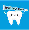 white tooth holding toothpaste tube cute funny vector image