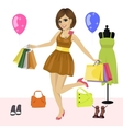 Young woman having fun with shopping bags vector image