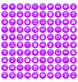 100 online shopping icons set purple vector image vector image