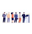 atm queue people waiting line bank machine face vector image vector image