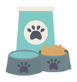 bag and plastic dishes with food and water care vector image vector image