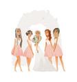 beautiful young bride in wedding dress vector image vector image