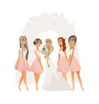beautiful young bride in wedding dress with vector image vector image