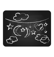 Black chalkboard with white clouds moon and stars vector image