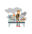 boy after a failed chemical experiment schoolgirl vector image vector image