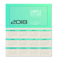 calendar for 2018 template flyer design on green vector image