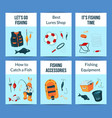 card or flyer set with cartoon fishing vector image vector image