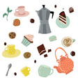 cartoon color tea and sweets icons set vector image