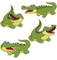cartoon green crocodile collection set vector image vector image