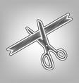 ceremony ribbon cut sign pencil sketch vector image