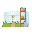 chelf garden and fence with houseplants vector image vector image