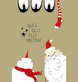 christmas card with santa snowman and penguins vector image vector image
