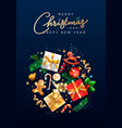 christmas greeting card with holiday objects vector image vector image