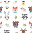 cute forest animals seamless pattern vector image
