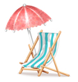 Deck Chair and Umbrella vector image vector image