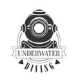 diving underwater vintage logo black and white vector image vector image