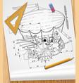 Drawing steampunk complex fantastic flying