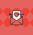 envelope and heart letter with cupids arrow vector image vector image