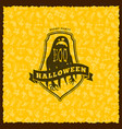 happy halloween badge sticker label with seamless vector image