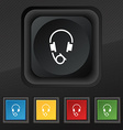 headsets icon symbol Set of five colorful stylish vector image vector image
