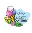 ice cream with flowers and leaves to summer vector image vector image