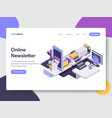 landing page template online newsletter mobile vector image vector image
