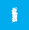 letter i cloud font symbol white alphabet sign on vector image
