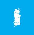 letter i cloud font symbol white alphabet sign on vector image vector image