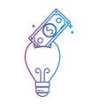 line bulb save bill cash money inside vector image vector image