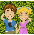 Little teenage boy and girl listening to music vector image vector image